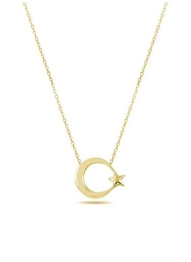 Enesstore 925 Ayar Gümüş Ay Yıldız Kolye Bayan Kolye Sade Sevenlere Sarı